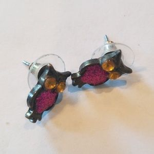 Pink & Yellow Sparkly Owls Earrings